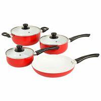 vidaXL Maisto ruošimo indų rinkinys, 7 dalių, raudonas, aliuminis