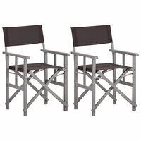 vidaXL Režisieriaus kėdės, 2 vnt., akacijos medienos masyvas