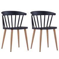 vidaXL Valgomojo kėdės, 2 vnt., juodos spalvos, plastikas