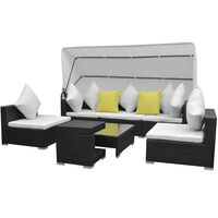 vidaXL Sodo poilsio baldų kompl. su skliautu, 7d., juodas, polirat.