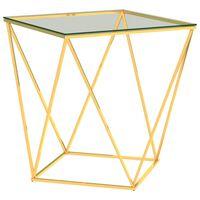 vidaXL Kavos staliukas, auksinis ir skaidrus, 50x50x55cm, plienas