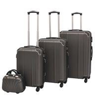 vidaXL 4 Kietų lagaminų su ratukais komplektas, antracito spalvos