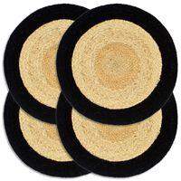 vidaXL Stalo kilimėliai, 4 vnt., natūralios ir juodos spalvų, 38cm