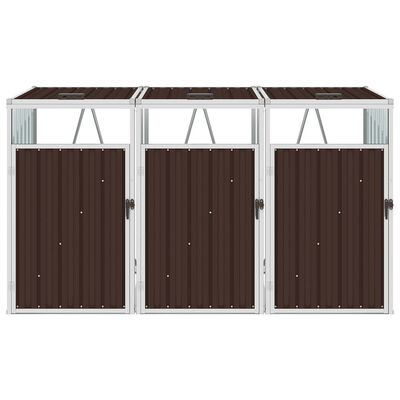 vidaXL Konteinerių stoginė, ruda, 213x81x121cm, plienas, trivietė