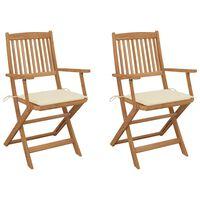 vidaXL Sulankstomos sodo kėdės su pagalvėmis, 2vnt., akacijos masyvas