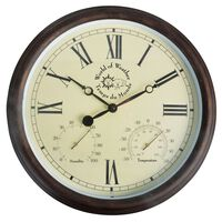 Esschert Design Stoties laikrodis su termo-higrometru, 30,5cm, TF009