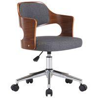 vidaXL Pasukama biuro kėdė, pilka, išlenkta mediena ir audinys