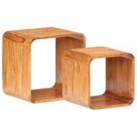 vidaXL Šoniniai staliukai, 2vnt., akacija su dalbergijos apdaila