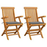 vidaXL Sodo kėdės su pagalvėlėmis, 2vnt., tikmedžio medienos masyvas