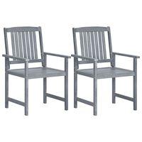 vidaXL Sodo kėdės, 2vnt., pilkos spalvos, akacijos medienos masyvas