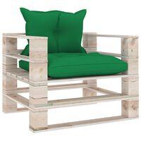 vidaXL Sodo sofa iš palečių su žaliomis pagalvėlėmis, pušies mediena