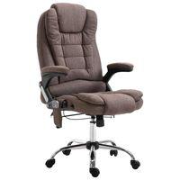 vidaXL Masažinė biuro kėdė, ruda, poliesteris