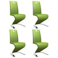 vidaXL Valgomojo kėdės, 4 vnt., žalios, dirbtinė oda, zigzago formos