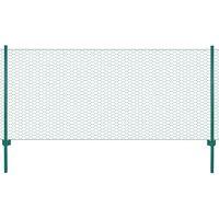 vidaXL Tinklinė tvora iš vielos su stulpais, žalios sp., 25x0,5 m
