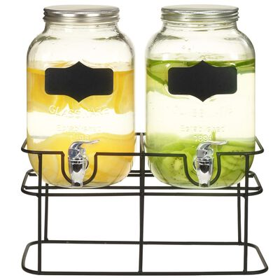 vidaXL Gėrimų dozatoriai su stovais, 2 vnt., 2 x 4 l, stiklas