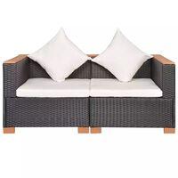 vidaXL Sodo sofa, juoda, poliratanas