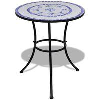 vidaXL Bistro staliukas, mėlynos ir baltos sp., 60cm, mozaikos raštas