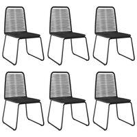 vidaXL Lauko kėdės, 6vnt., juodos spalvos, poliratanas