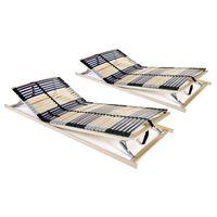 vidaXL Grotelės lovoms su 42 lentjuostėmis, 2vnt., 90x200cm, 7 zonos