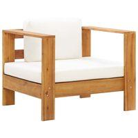 vidaXL Sodo kėdė su pagalvėle, kreminė, akacijos medienos masyvas