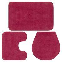 vidaXL Vonios kilimėlių rinkinys, 3d., fuksijos spalvos, audinys