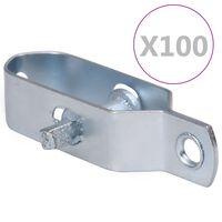 vidaXL Tvoros vielos įtempikliai, 100vnt., sidabrinis, plienas, 90mm