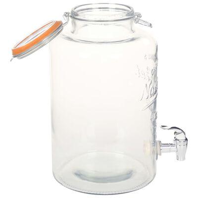 vidaXL Vandens dozatorius XXL, su čiaupu, 8L, skaidrus stiklas