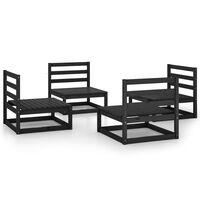 vidaXL Sodo poilsio baldų komplektas, 4 dalių, juodas, pušies masyvas