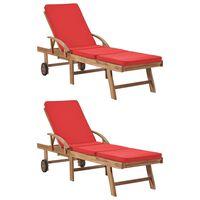 vidaXL Saulės gultai su čiužinukais, 2vnt., raudoni, tikmedžio masyvas