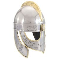 vidaXL Beowulf šalmas, sidabrinis, plienas, antikvarinė kopija