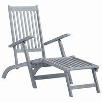 vidaXL Lauko kėdė terasai su pakoja, pilkos sp., akacijos med. masyvas