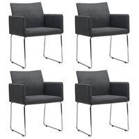 vidaXL Valgomojo kėdės, 4 vnt., tamsiai pilkos, audinys
