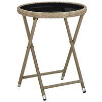 vidaXL Arbatos staliukas, smėlio, 60cm, poliratanas/grūdintas stiklas