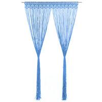 vidaXL Užuolaida, mėlyna, 140x240cm, medvilnė, makrame stiliaus