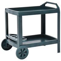 vidaXL Gėrimų vežimėlis, žalios spalvos, 69x53x72cm, plastikas