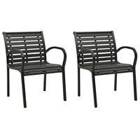 vidaXL Sodo kėdės, 2vnt., pilkos spalvos, mediena