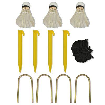 vidaXL Badmintono tinklas su plunksninukais, 500x155 cm