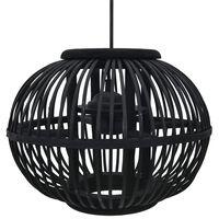 vidaXL Pakabinamas šviestuvas, juodas, 30x22cm, gluosnis, apvalus, 40W