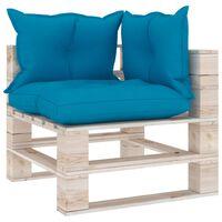 vidaXL Kampinė sodo sofa iš palečių su pagalvėlėmis, pušies mediena