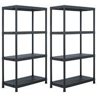 vidaXL Sandėliavimo lentynos, 2vnt., juodos, 60x30x138cm, plastikas