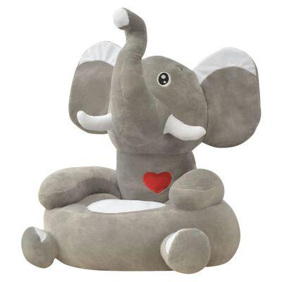 vidaXL Pliušinė vaikiška kėdė, dramblio formos, pilka