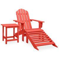 vidaXL Sodo Adirondack kėdė su otomane ir staliuku, raudona, eglė