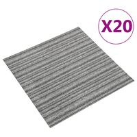 vidaXL Kiliminės plytelės, 20vnt., pilkos, 50x50cm, 5m², dryžuotos