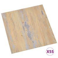 vidaXL Grindų plokštės, 55vnt., rudos, 5,11m², PVC, prilimpančios