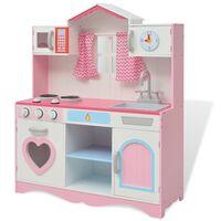 vidaXL Žaislinė virtuvė, mediena, 82x30x100cm, rožinė ir balta
