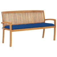 vidaXL Sudedamas sodo suoliukas su pagalvėle, 159 cm, tikmedis