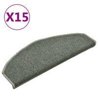 vidaXL Laiptų kilimėliai, 15vnt., tamsiai žalios spalvos, 65x24x4cm