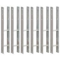vidaXL Tvoros stulpai, 6vnt., sidabrinės spalvos, 8x6x60cm, plienas