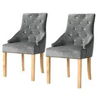vidaXL Valgomojo kėdės, 2vnt., sidabrinės, ąžuolo mediena ir aksomas
