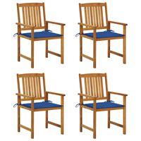 vidaXL Režisieriaus kėdės su pagalvėlėmis, 4vnt., akacijos masyvas